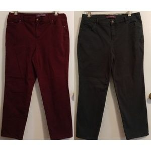 Gloria Vanderbilt Jeans - Lot Bundle 2 Amanda Jeans Pine Wine Fall Colors